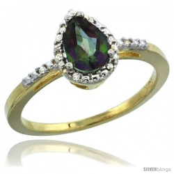 14k Yellow Gold Diamond Mystic Topaz Ring 0.59 ct Tear Drop 7x5 Stone 3/8 in wide