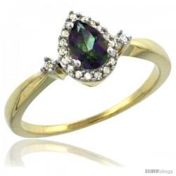 14k Yellow Gold Diamond Mystic Topaz Ring 0.33 ct Tear Drop 6x4 Stone 3/8 in wide