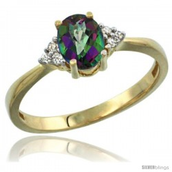 14k Yellow Gold Ladies Natural Mystic Topaz Ring oval 7x5 Stone Diamond Accent
