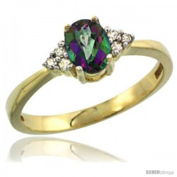 14k Yellow Gold Ladies Natural Mystic Topaz Ring oval 6x4 Stone Diamond Accent