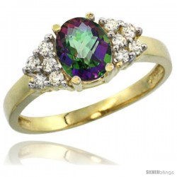 14k Yellow Gold Ladies Natural Mystic Topaz Ring oval 8x6 Stone Diamond Accent