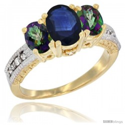 14k Yellow Gold Ladies Oval Natural Blue Sapphire 3-Stone Ring with Mystic Topaz Sides Diamond Accent