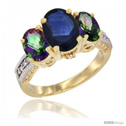 14K Yellow Gold Ladies 3-Stone Oval Natural Blue Sapphire Ring with Mystic Topaz Sides Diamond Accent