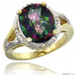 14k Yellow Gold Ladies Natural Mystic Topaz Ring oval 12x10 Stone Diamond Accent