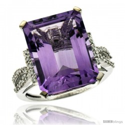 10k White Gold Diamond Amethyst Ring 12 ct Emerald Shape 16x12 Stone 3/4 in wide