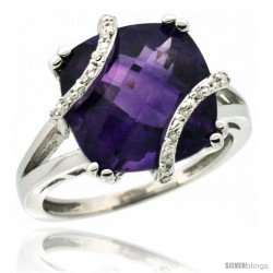 10k White Gold Diamond Amethyst Ring 7.5 ct Cushion Cut 12 mm Stone, 1/2 in wide