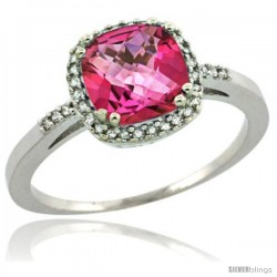 Sterling Silver Diamond Natural Pink Topaz Ring 1.5 ct Checkerboard Cut Cushion Shape 7 mm, 3/8 in wide