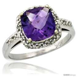10k White Gold Diamond Amethyst Ring 2.08 ct Cushion cut 8 mm Stone 1/2 in wide