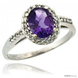 10k White Gold Diamond Amethyst Ring Oval Stone 8x6 mm 1.17 ct 3/8 in wide