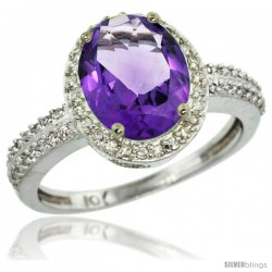 10k White Gold Diamond Amethyst Ring Oval Stone 10x8 mm 2.4 ct 1/2 in wide