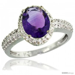 10k White Gold Diamond Amethyst Ring Oval Stone 9x7 mm 1.76 ct 1/2 in wide