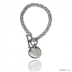 Sterling Silver Oval Rolo Link w/ Round Tag Necklaces and Bracelets