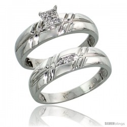 10k White Gold Diamond Engagement Rings Set 2-Piece 0.08 cttw Brilliant Cut, 7/32 in wide -Style Ljw005e2