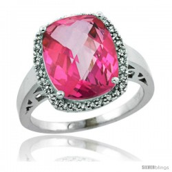 Sterling Silver Diamond Natural Pink Topaz Ring 5.17 ct Checkerboard Cut Cushion 12x10 mm, 1/2 in wide
