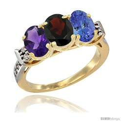 10K Yellow Gold Natural Amethyst, Garnet & Tanzanite Ring 3-Stone Oval 7x5 mm Diamond Accent