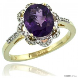 10k Yellow Gold Diamond Halo Amethyst Ring 1.65 Carat Oval Shape 9X7 mm, 7/16 in (11mm) wide