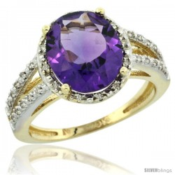 10k Yellow Gold Diamond Halo Amethyst Ring 2.85 Carat Oval Shape 11X9 mm, 7/16 in (11mm) wide