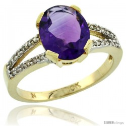 10k Yellow Gold and Diamond Halo Amethyst Ring 2.4 carat Oval shape 10X8 mm, 3/8 in (10mm) wide
