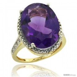 10k Yellow Gold Diamond Amethyst Ring 13.56 Carat Oval Shape 18x13 mm, 3/4 in (20mm) wide