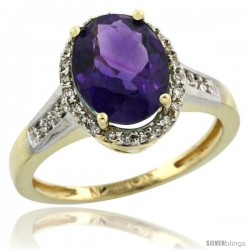 10k Yellow Gold Diamond Amethyst Ring 2.4 ct Oval Stone 10x8 mm, 1/2 in wide