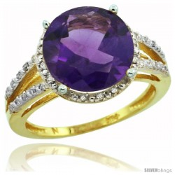 10k Yellow Gold Diamond Amethyst Ring 5.25 ct Round Shape 11 mm, 1/2 in wide