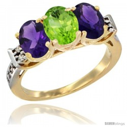 10K Yellow Gold Natural Peridot & Amethyst Sides Ring 3-Stone Oval 7x5 mm Diamond Accent
