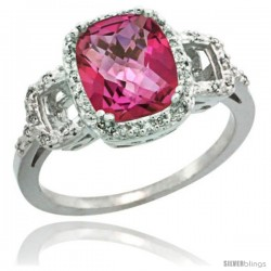 Sterling Silver Diamond Natural Pink Topaz Ring 2 ct Checkerboard Cut Cushion Shape 9x7 mm, 1/2 in wide