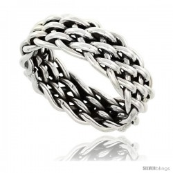 Sterling Silver Southwest Design handmade Woven Wire Wrap Ring 3/8 in wide