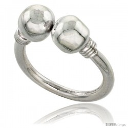 Sterling Silver Bali Style 2-Bead Ring, 5/16 in wide