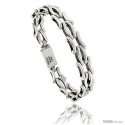 Sterling Silver Curvy Bar Link Bracelet 1/2 in wide