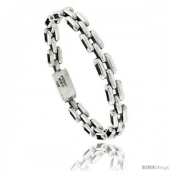 Sterling Silver Bar Link Bracelet 5/16 in wide -Style Lx406
