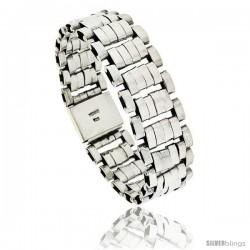 Sterling Silver Large Handmade 6-Row Bar Link Bracelet 3/4 in wide