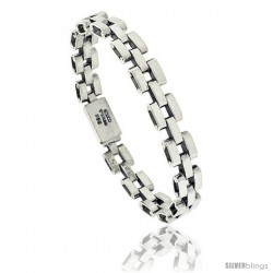 Sterling Silver Pantera Type Link Bracelet 3/8 in wide