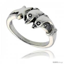Sterling Silver Double Dolphin w/ Star Polished Ring 1/4 in wide