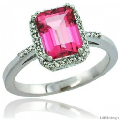 Sterling Silver Diamond Natural Pink Topaz Ring 1.6 ct Emerald Shape 8x6 mm, 1/2 in wide -Style Cwg06129