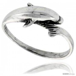 Sterling Silver Polished Dolphin Ring 1/4 in wide