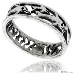 Sterling Silver Polished Multi Dolphin Wedding Band Ring 1/4 in wide