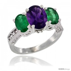 14K White Gold Ladies 3-Stone Oval Natural Amethyst Ring with Emerald Sides Diamond Accent