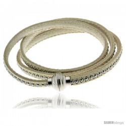 Surgical Steel Italian Leather Wrap Massai Bracelet Inlaid Beads w/ Super Magnet Clasp, Color White