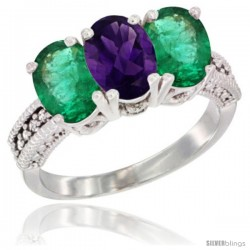 14K White Gold Natural Amethyst & Emerald Sides Ring 3-Stone 7x5 mm Oval Diamond Accent