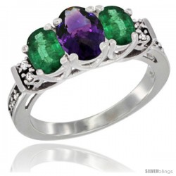 14K White Gold Natural Amethyst & Emerald Ring 3-Stone Oval with Diamond Accent