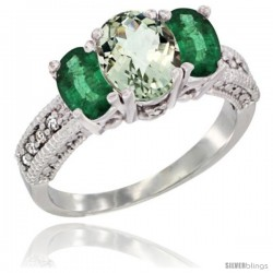 14k White Gold Ladies Oval Natural Green Amethyst 3-Stone Ring with Emerald Sides Diamond Accent