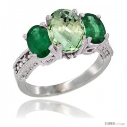 14K White Gold Ladies 3-Stone Oval Natural Green Amethyst Ring with Emerald Sides Diamond Accent