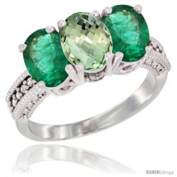14K White Gold Natural Green Amethyst & Emerald Sides Ring 3-Stone 7x5 mm Oval Diamond Accent