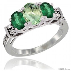 14K White Gold Natural Green Amethyst & Emerald Ring 3-Stone Oval with Diamond Accent