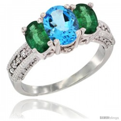 14k White Gold Ladies Oval Natural Swiss Blue Topaz 3-Stone Ring with Emerald Sides Diamond Accent
