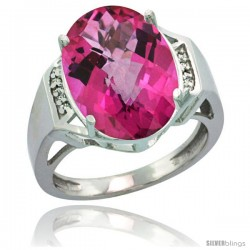 Sterling Silver Diamond Natural Pink Topaz Ring 9.7 ct Large Oval Stone 16x12 mm, 5/8 in wide