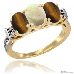 10K Yellow Gold Natural Opal & Tiger Eye Sides Ring 3-Stone Oval 7x5 mm Diamond Accent