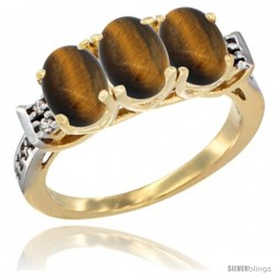 10K Yellow Gold Natural Tiger Eye Ring 3-Stone Oval 7x5 mm Diamond Accent