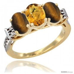 10K Yellow Gold Natural Whisky Quartz & Tiger Eye Sides Ring 3-Stone Oval 7x5 mm Diamond Accent